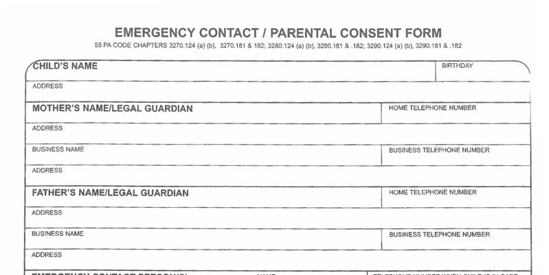 Emergency Contact Form. Personal Contact Information Form Template